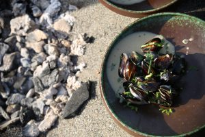 chef paul mussels on the beach
